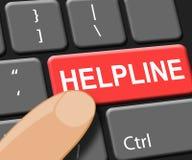 La chiave dell'help-line mostra l'illustrazione di consiglio 3d del FAQ Immagine Stock Libera da Diritti