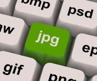 La chiave di Jpg mostra il formato immagine per le immagini di Internet Fotografia Stock Libera da Diritti