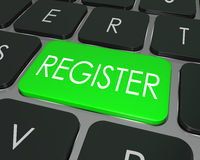 La chiave di tastiera del computer del registro si iscrive entra nel sito del deposito Immagine Stock