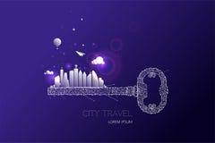 La chiave e la composizione grafica nella città con effetto della luce progettano illustrazione di stock