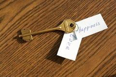La chiave a felicità e ad amore di colore bronzeo Fotografie Stock