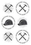 La chiave, il martello ed il casco di sicurezza Badges/etichette Fotografia Stock