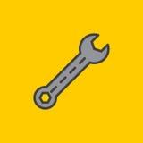 La chiave, servizio ha riempito l'icona del profilo, linea segno di vettore, pittogramma variopinto piano Simbolo, illustrazione  Immagini Stock