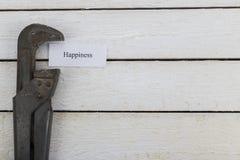 La chiave stringitubo comprime pezzo di carta con una felicità dell'iscrizione Immagine tonificata immagini stock