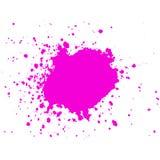 La chiazza rosa della pittura dell'inchiostro con schizza sul fondo bianco macchia Fotografie Stock Libere da Diritti