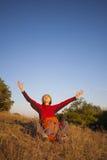 La chica joven alcanzó su meta Fotografía de archivo