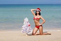 La chica joven atractiva en una playa en el vestido de Papá Noel Imágenes de archivo libres de regalías