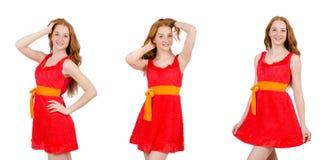 La chica joven bonita en el vestido rojo aislado en blanco imágenes de archivo libres de regalías
