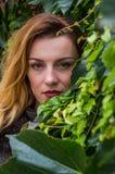 La chica joven con el pelo largo que se coloca cerca de la pared con las uvas salvajes deja día soleado del otoño Fotos de archivo