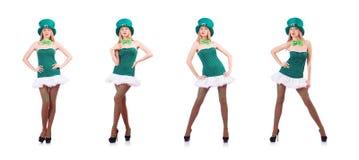 La chica joven en concepto de la celebración de St Patrick imagen de archivo libre de regalías