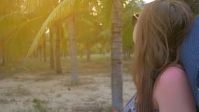 La chica joven en sombrero y vidrios azules va contra el fondo de las palmas de coco tropicales Ciérrese encima de tiro almacen de video