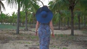 La chica joven en sombrero y vidrios azules va contra el fondo de las palmas de coco tropicales Tiro medio Cámara lenta almacen de video