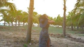 La chica joven en sombrero y vidrios azules va contra el fondo de las palmas de coco tropicales Tiro medio Cámara lenta metrajes