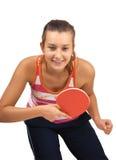 La chica joven juega a ping-pong imágenes de archivo libres de regalías