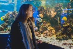 La chica joven mira pescados en un acuario grande imágenes de archivo libres de regalías