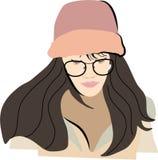 La chica joven mira su teléfono libre illustration