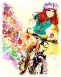 La chica joven monta la bicicleta watercolor stock de ilustración