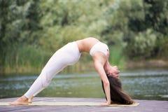 La chica joven practica la yoga en la orilla del lago, el concepto de disfrutar de la privacidad y de la concentración, luz del s imagen de archivo libre de regalías