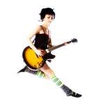 La chica joven que salta con una guitarra Imagen de archivo libre de regalías