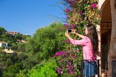 La chica joven toma la foto en su teléfono en tropical Imagen de archivo libre de regalías