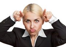 La chica trabajadora está enojada Fotos de archivo