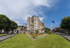 La chiesa collegiale di Sainte-Waudru a Mons Fotografia Stock Libera da Diritti