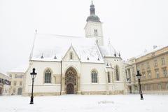 La chiesa dei segni della st a Zagabria, Croazia Fotografie Stock Libere da Diritti