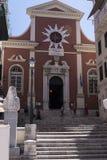 La chiesa del san Spiliotissa è situata davanti al vecchio porto ed è nominato inoltre Mitropolis dopo la piazza pubblica nel wh Fotografie Stock