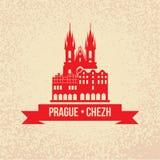 La chiesa della madre di Dio prima di Tyn il simbolo di Praga, Che illustrazione vettoriale