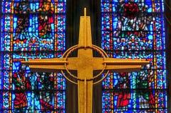 La chiesa della riva del fiume nella città di New-York Fotografia Stock