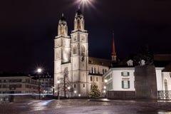 La chiesa di Grossmunster da Zurigo Fotografia Stock Libera da Diritti