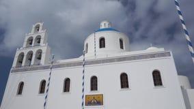 La chiesa di Panagia a OIA, Santorini stock footage