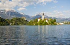 La chiesa di pellegrinaggio ed il castello del rocktop con la montagna abbelliscono il fondo, il lago sanguinato, Slovenia Fotografia Stock Libera da Diritti