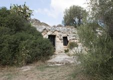 La Chiesa di San Lorenzo, Parco Rupestre Lama D`Antico. Pictured is the outside front of an ancient cave church, La Chiesa di San Lorenzo, in the Parco Rupestre Stock Photography