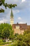 La chiesa di St Margaret, vista urbana di mezzi, Romania fotografia stock libera da diritti