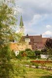 La chiesa di St Margaret, vista urbana di mezzi, Romania fotografie stock libere da diritti