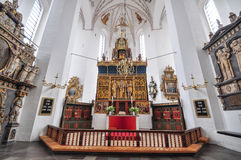 La chiesa di St Mary, Rostock, interno, altare di cerimonia Fotografia Stock
