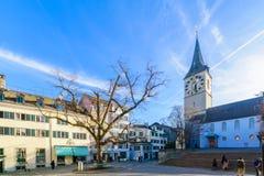 La chiesa di St Peter, Zurigo Fotografia Stock
