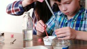 La chimica sperimenta a casa La mamma ed il figlio aggiungono le varie sostanze in una provetta archivi video