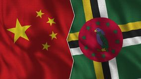 La Chine et Dominica Half Flags Together illustration stock