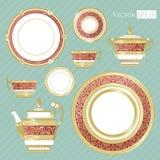 La Chine fine - ensemble de porcelaine illustration stock