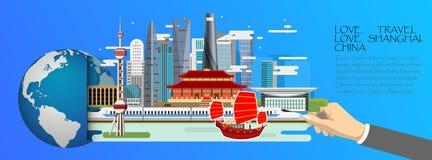 La Chine infographic, global avec des points de repère de Changhaï, étable plate Image libre de droits