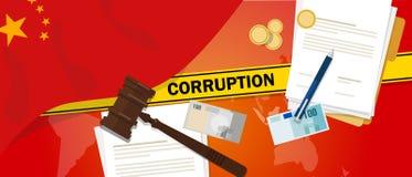 La Chine lutte la ligne de police de contrat de loi financière de corruption d'argent de corruption pour un fonctionnaire de gouv Images libres de droits