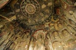 La Chine/Sichuan : Découpage en pierre des grottes de Qianfo Photographie stock libre de droits