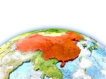 La Chine sur le globe Photos stock