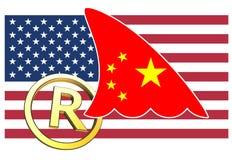 La Chine volant la propriété intellectuelle des USA illustration de vecteur