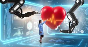 La chirurgie cardiaque faite par le bras robotique illustration stock