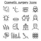 La chirurgie esthétique, icône d'opération chirurgicale a placé dans la ligne mince styl illustration de vecteur