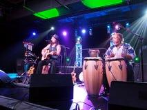 La chitarra del gioco di Tavana del musicista e canta con Leon Mobley che gioca il Dott. Fotografie Stock