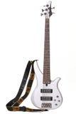 La chitarra elettrica bianca ha isolato Fotografia Stock